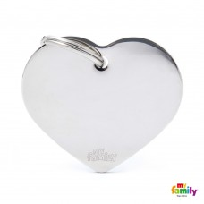 Chapa de identificação Big Heart Chrome Plated Brass