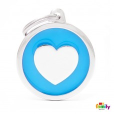 Chapa de identificação Big Round Light Blue Heart